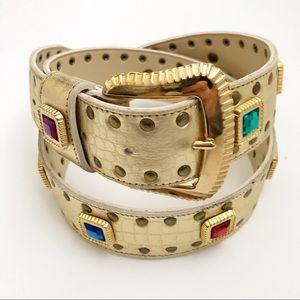 Vintage Gold Studded Gems Leather Belt Women's M L
